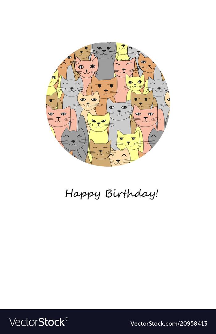 Many Funny Cats Happy Birthday Card Vector Image