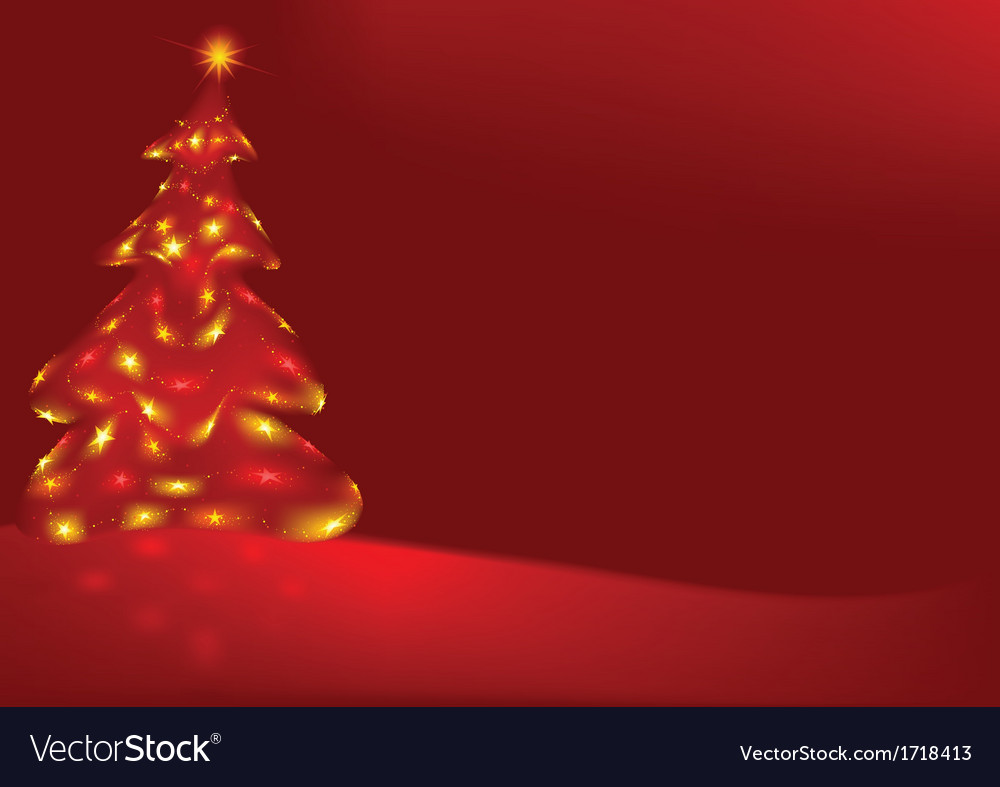 Red Background And Xmas Tree
