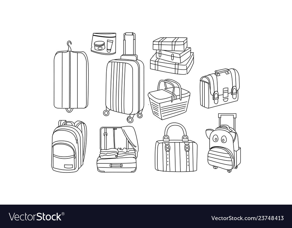 Set of hand drawn bags and luggage picnic