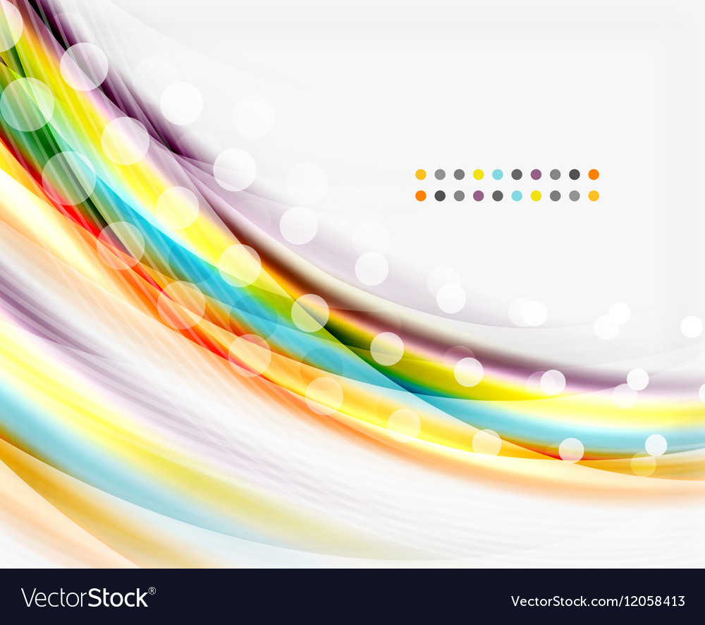 Smooth colorful line on white Wave abstract