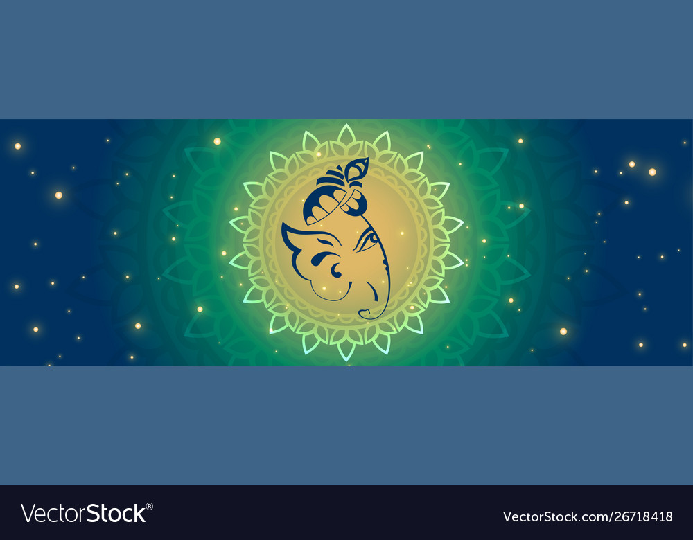 Beautiful lord ganesha face on glowing banner