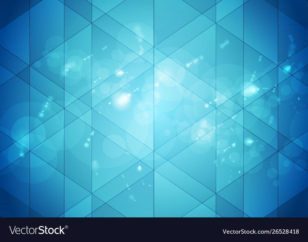 Bright blue shiny bokeh and low poly abstract tech