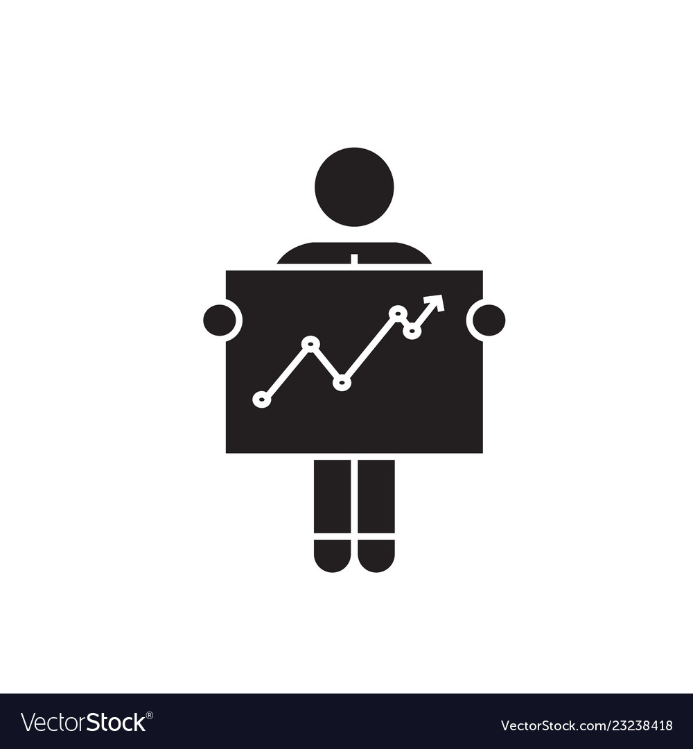 Businessman with growth graph black concept