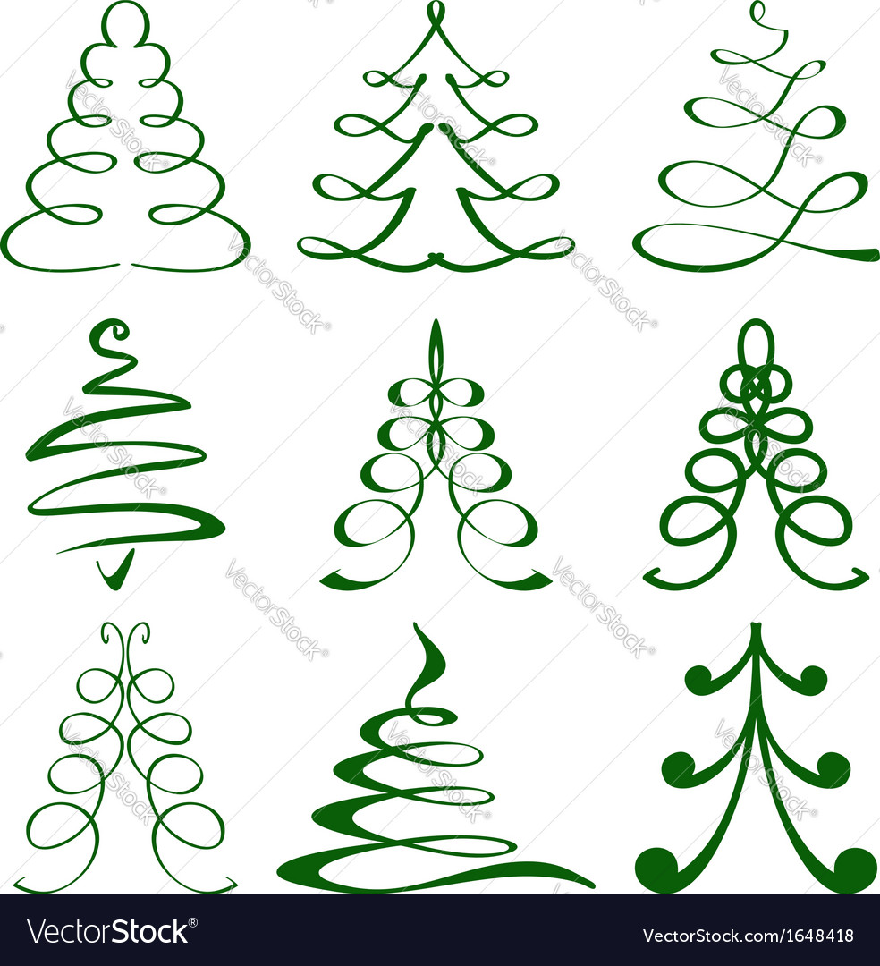 Christmas trees sketch set