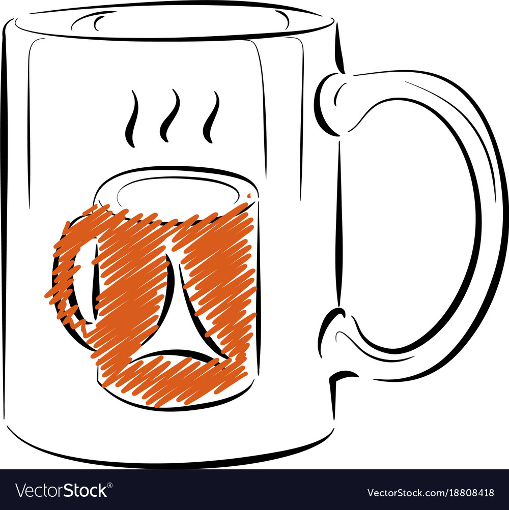Coffee mug template outline style Royalty Free Vector Image
