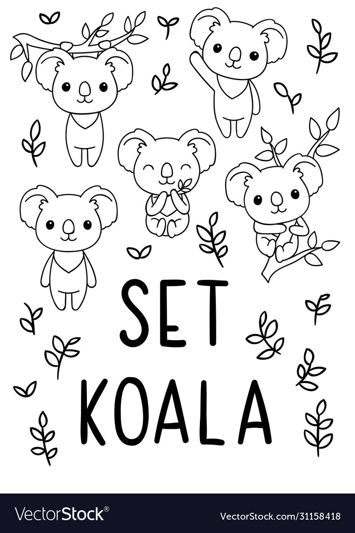 Coloring Pages Black And White Set Cute Kawaii Vector Image