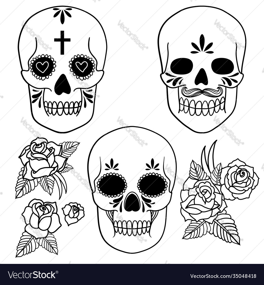 Isolated a skull with roses and leaves black