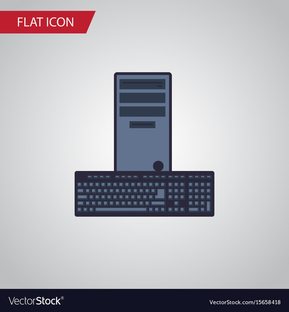 Isolated keyboard flat icon processor