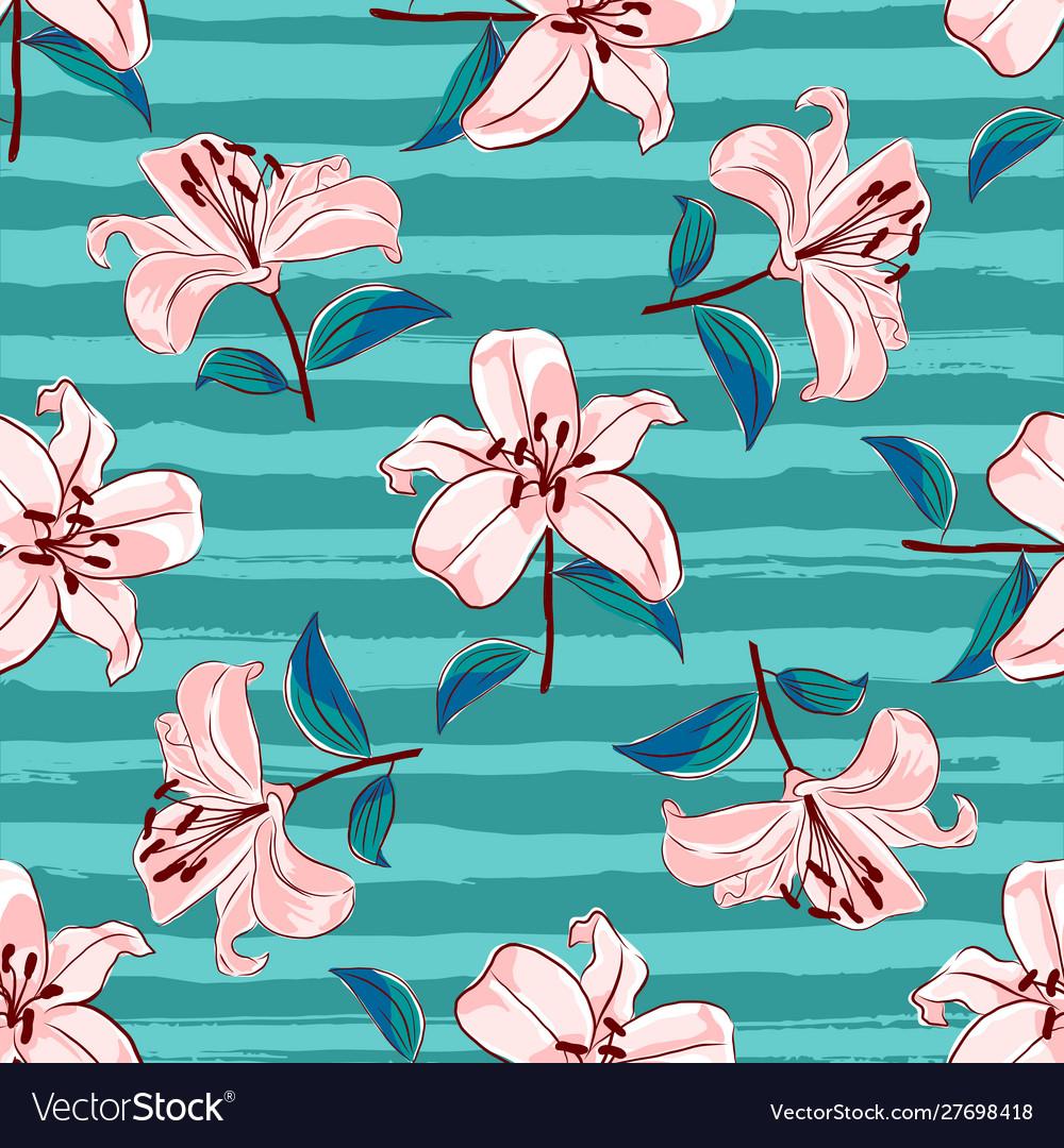 Lilies flowers seamless pattern blooming pink