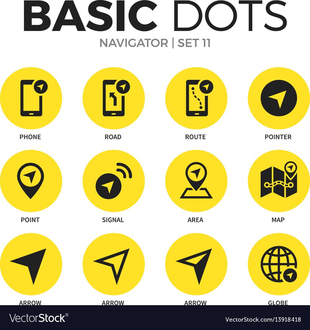 Navigator flat icons set