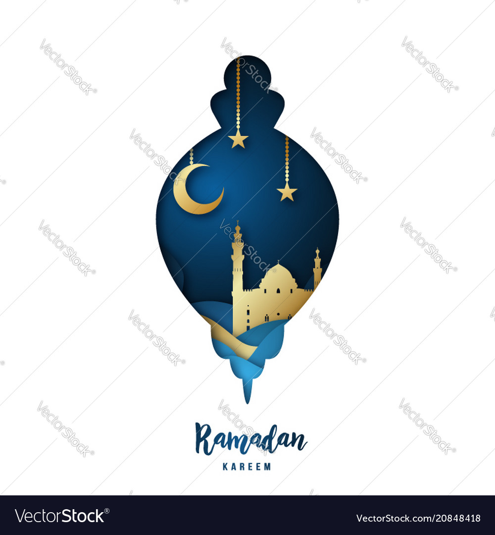 Ramadan kareem with arabic gold origami mosque
