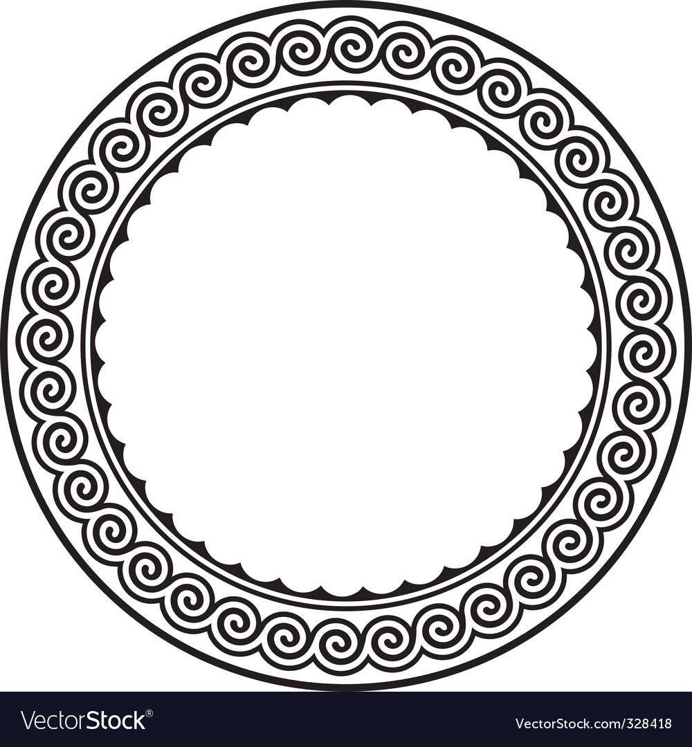 Round frame with a meander Royalty Free Vector Image
