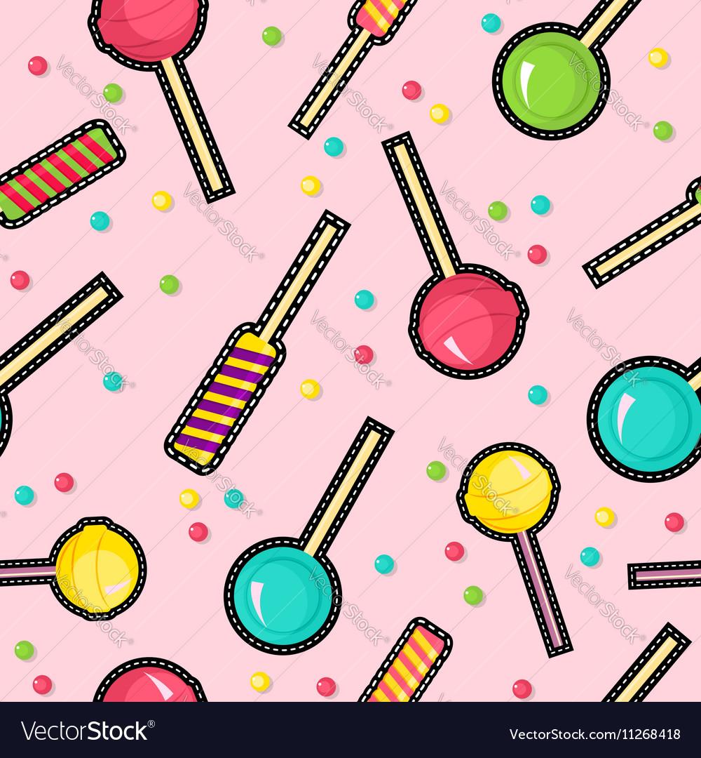 Stitch patches sweet lollipop seamless pattern
