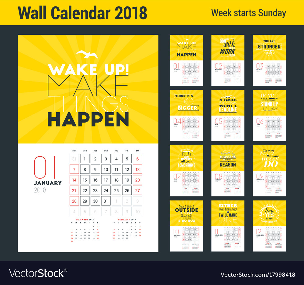 Wall Calendar Template For 2018 Year Design Print Vector Image