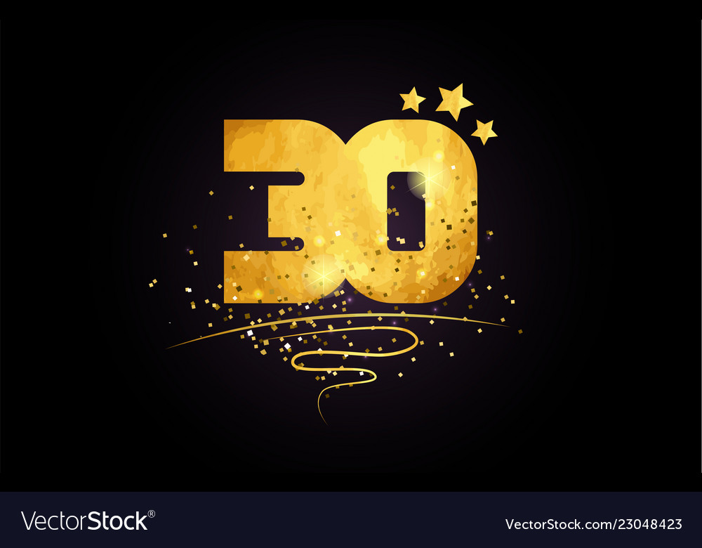 30 number icon design with golden star and glitter