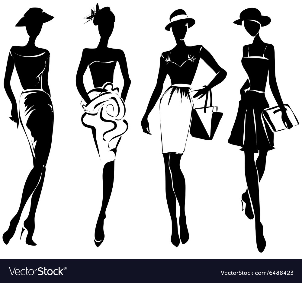 Black And White Retro Fashion Models In Sketch Vector Image