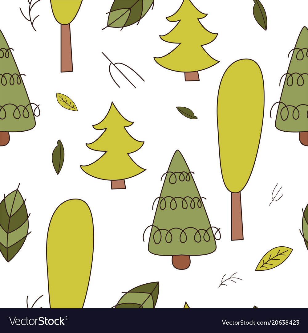 Forest seamless pattering in cartoon style