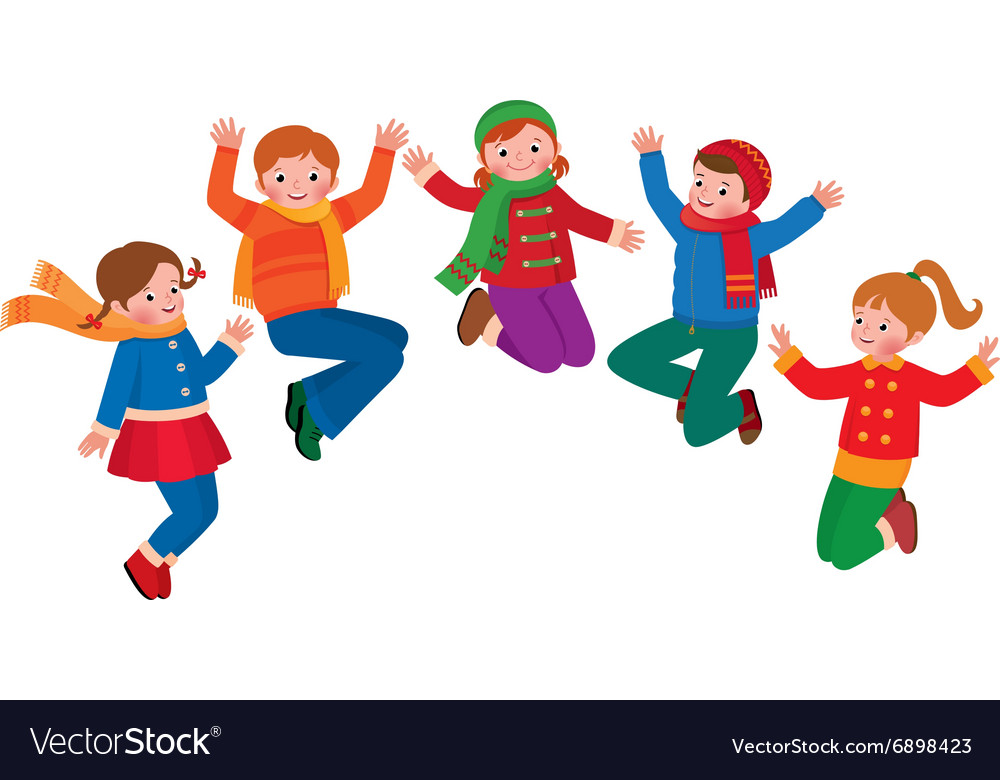 Group of jumping children boys and girls