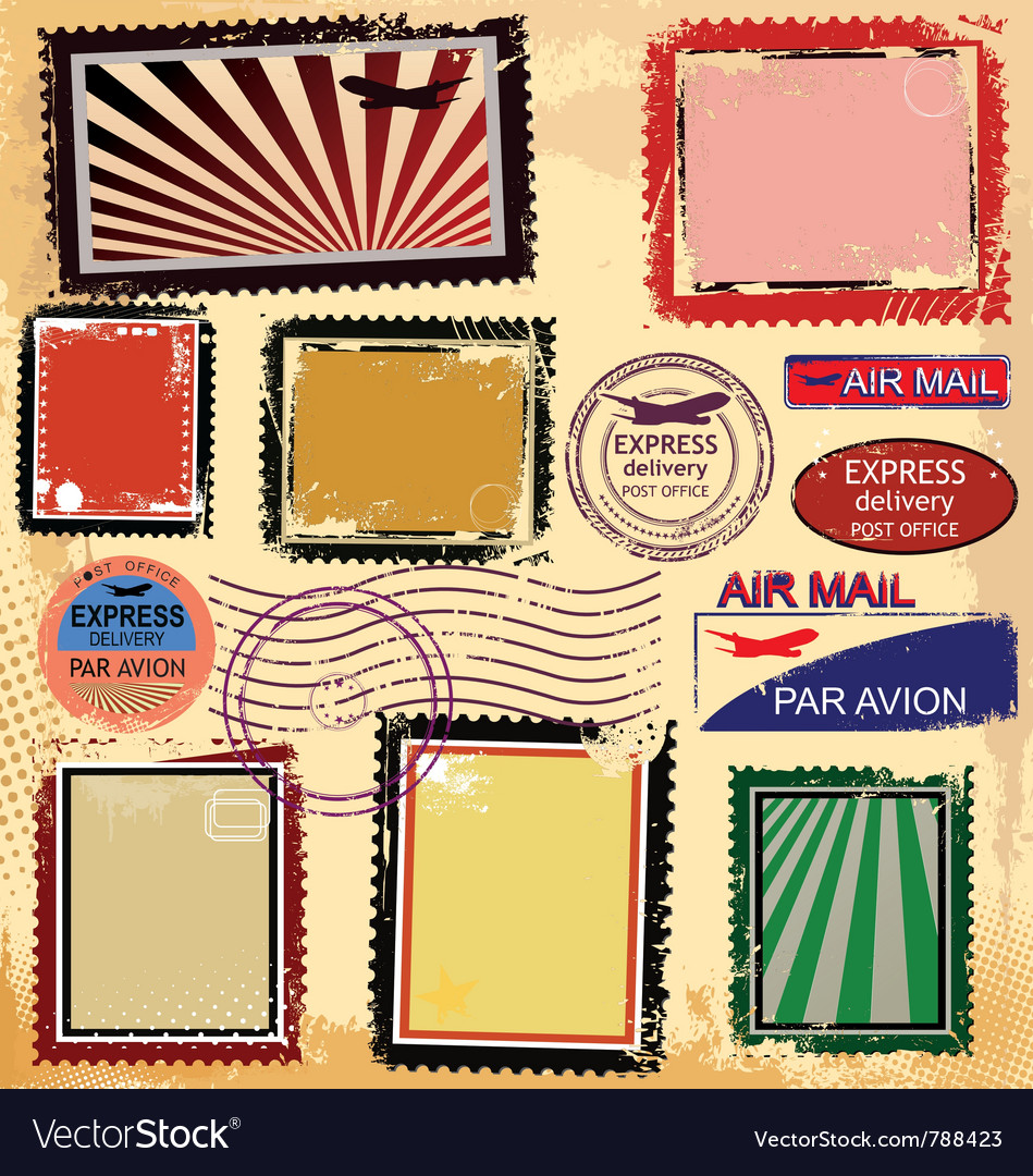 Grunge post stamps vector image