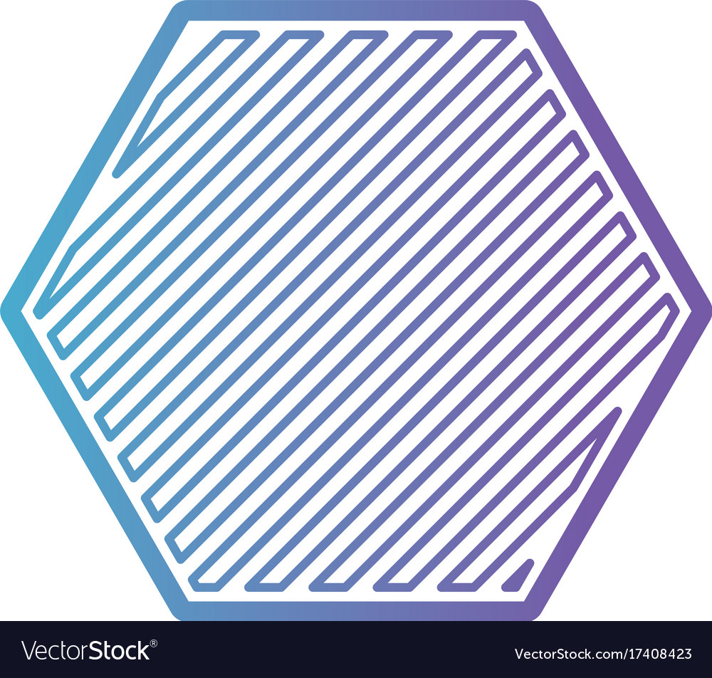 Hexagon shape emblem in color gradient silhouette