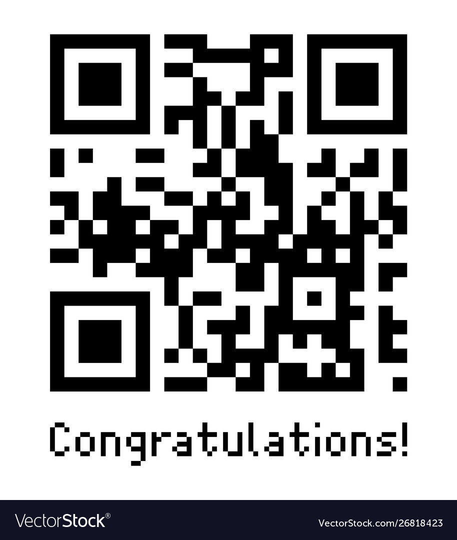 Qr code sample icon with text congratulations