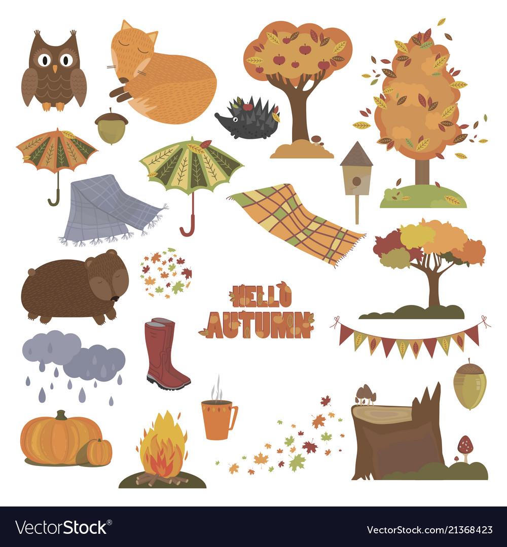 Set autumn elements collection autumn