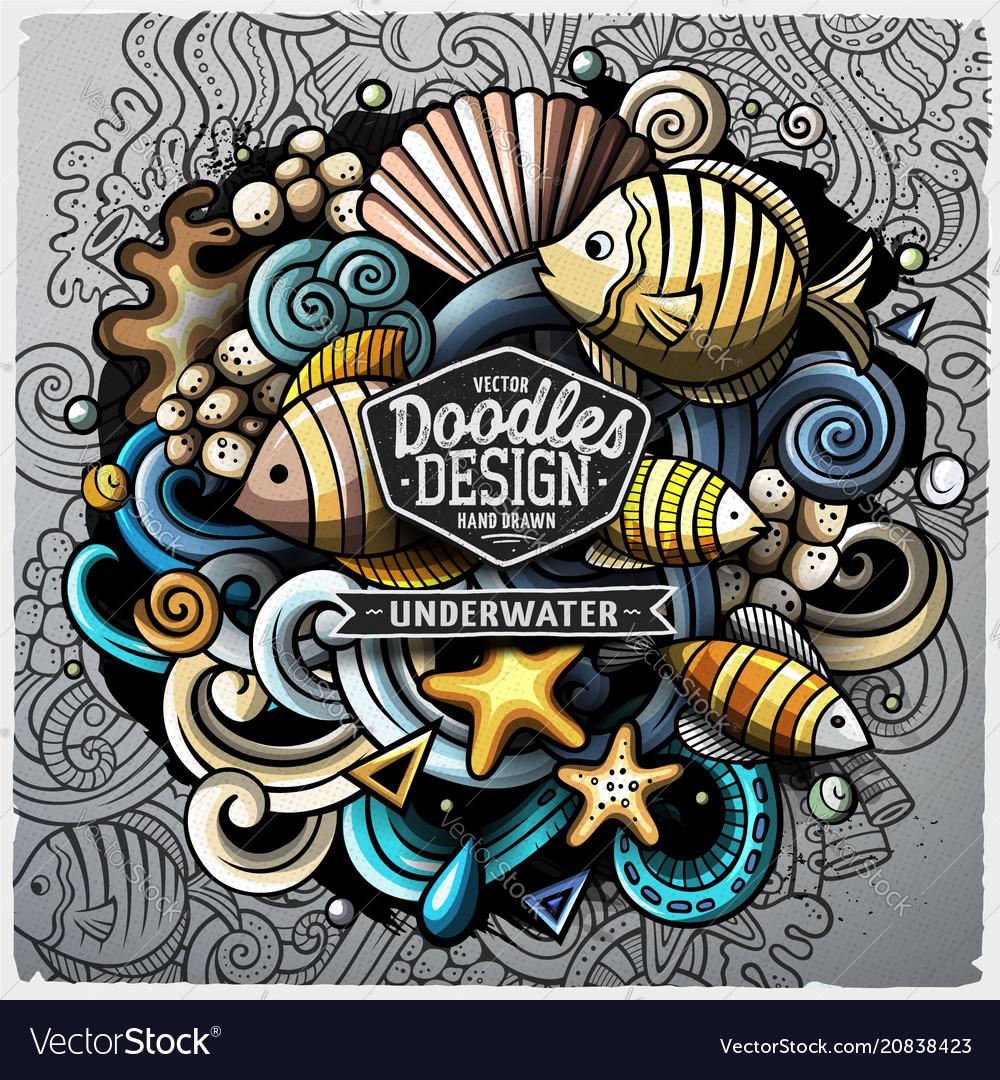 Undersea life cartoon doodle