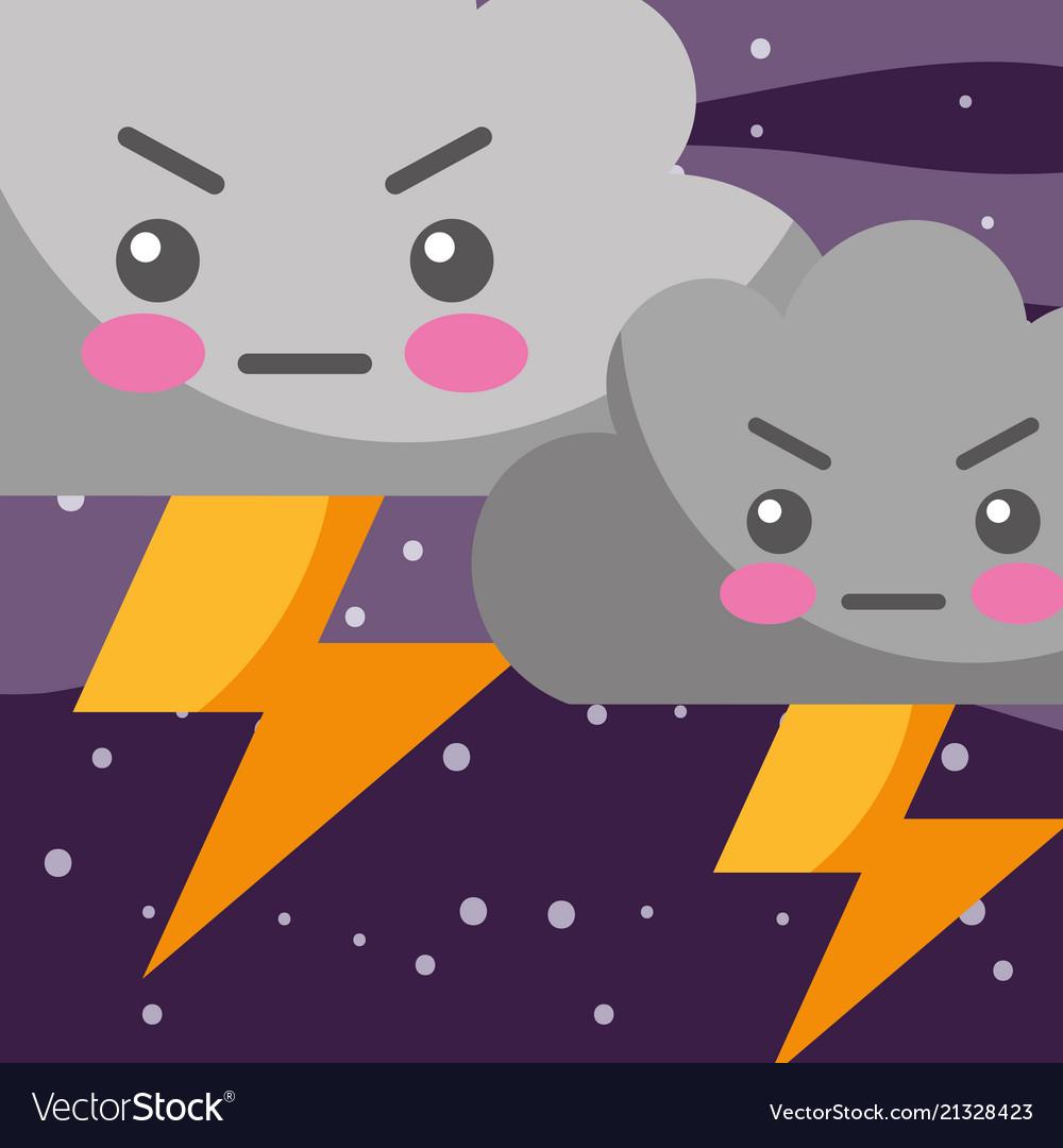 Weather kawaii thunder clouds cartoon