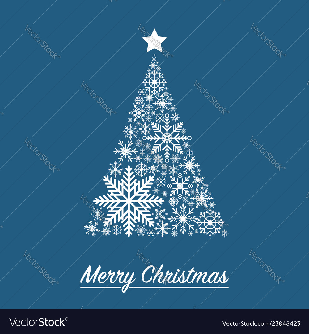 Xmas card with christmas tree made from snowflakes vector