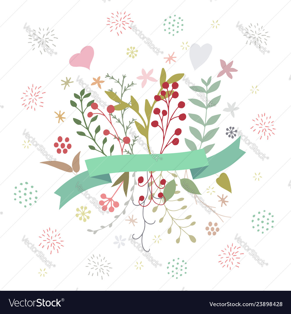 Abstract floral spring bouquet on white