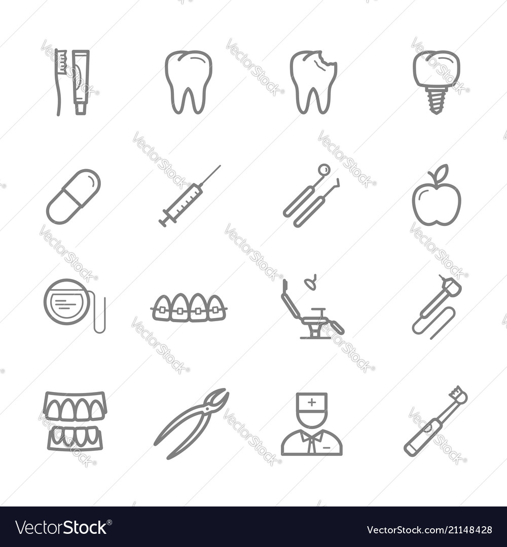 Dentistry and dental medicine thin line icon
