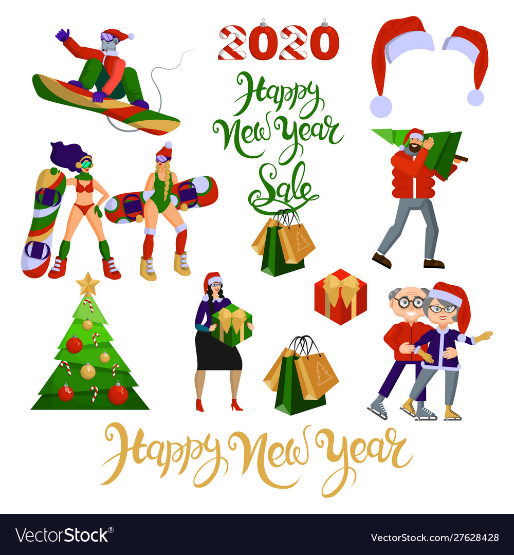 Flat cartoon set about christmas and new year