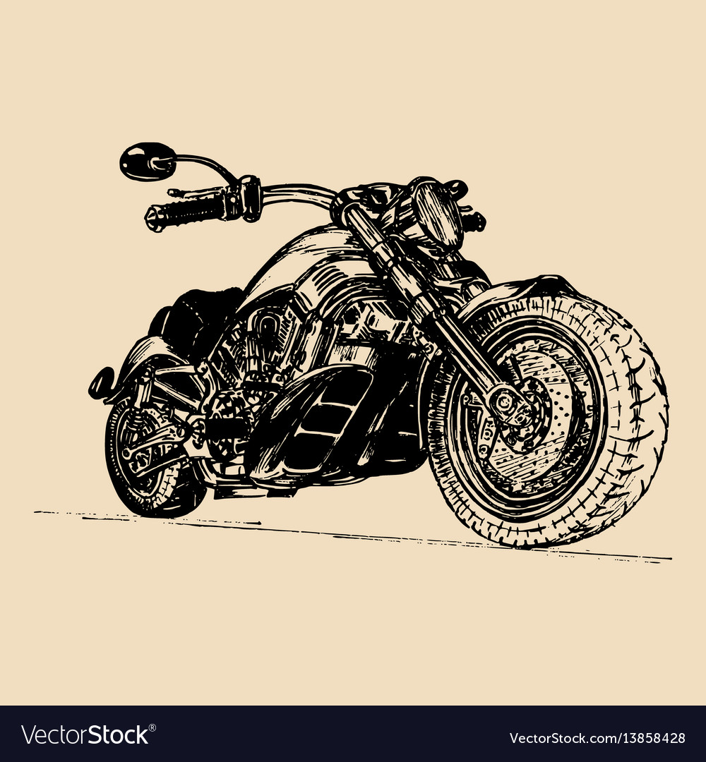 Hand drawn motorcycle