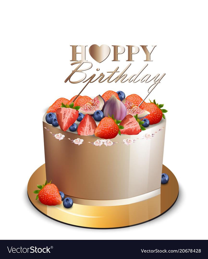 Happy birthday cake realistic anniversary