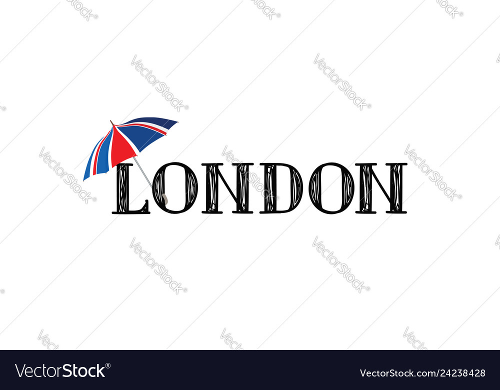 London brush style hand drawn lettering text with