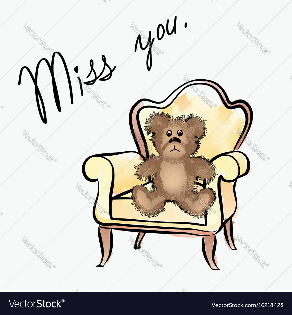 Miss you note with bear valentines day greeting