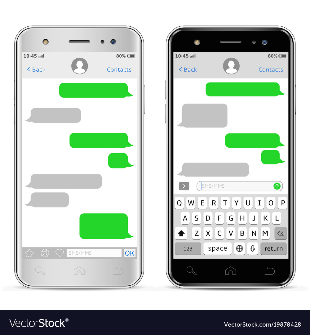 Mobile phones with sms chat messenger window