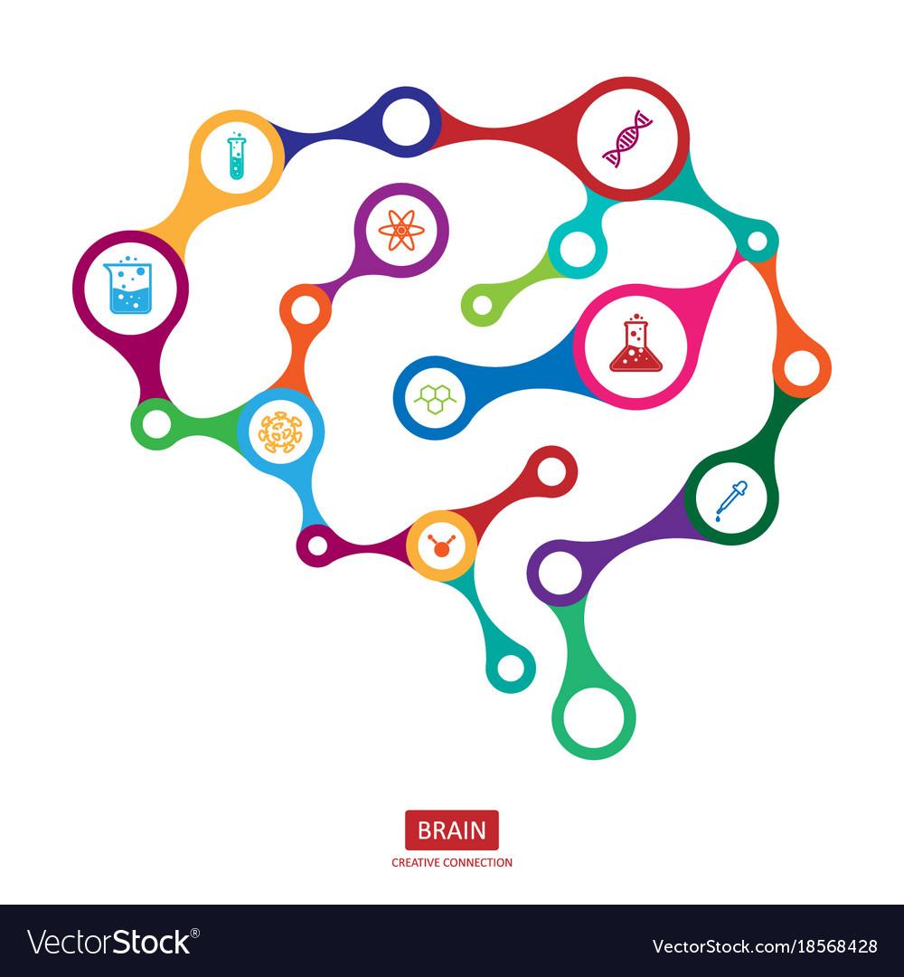 Multicolor connection brain with icon creative