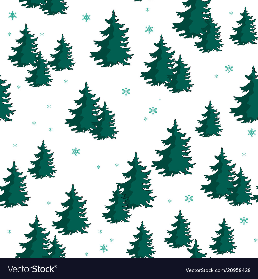 Seamless pattern with colorful fir trees