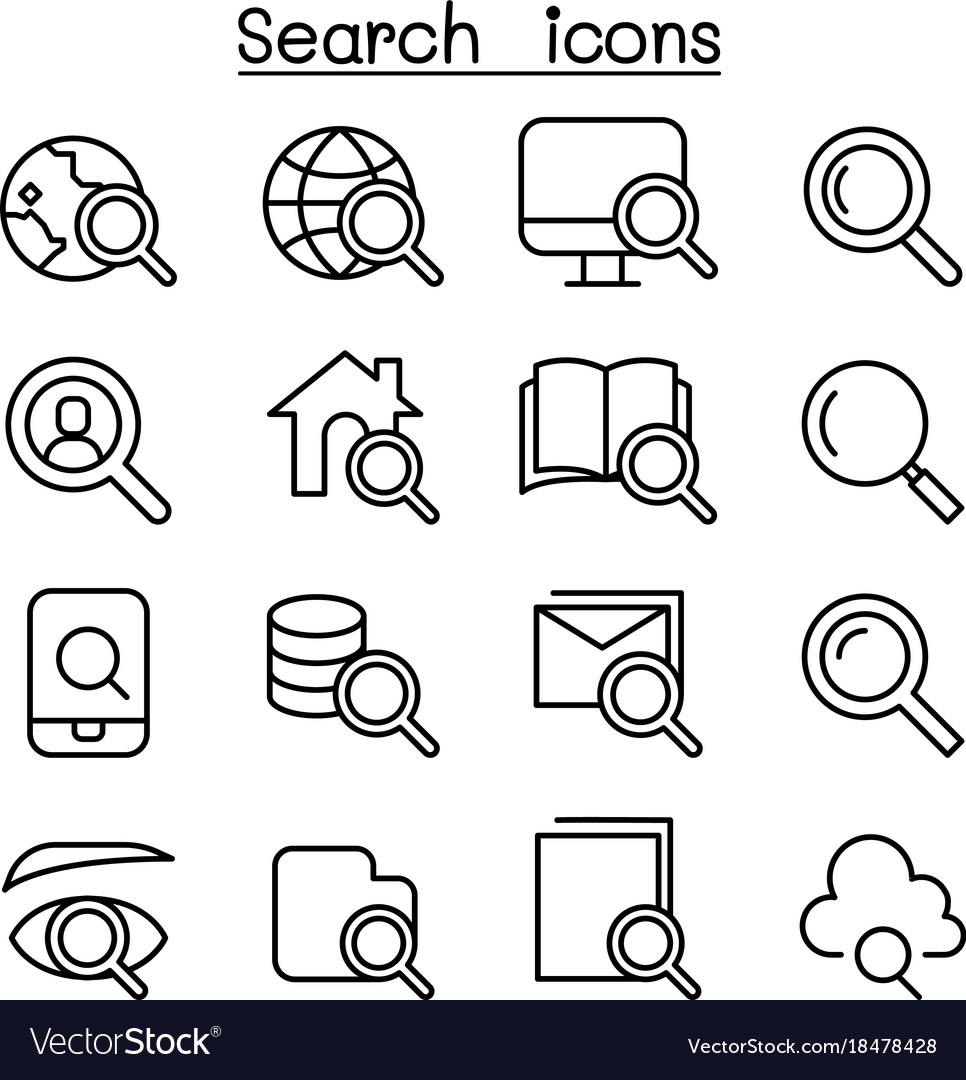 Search icon set in thin line style
