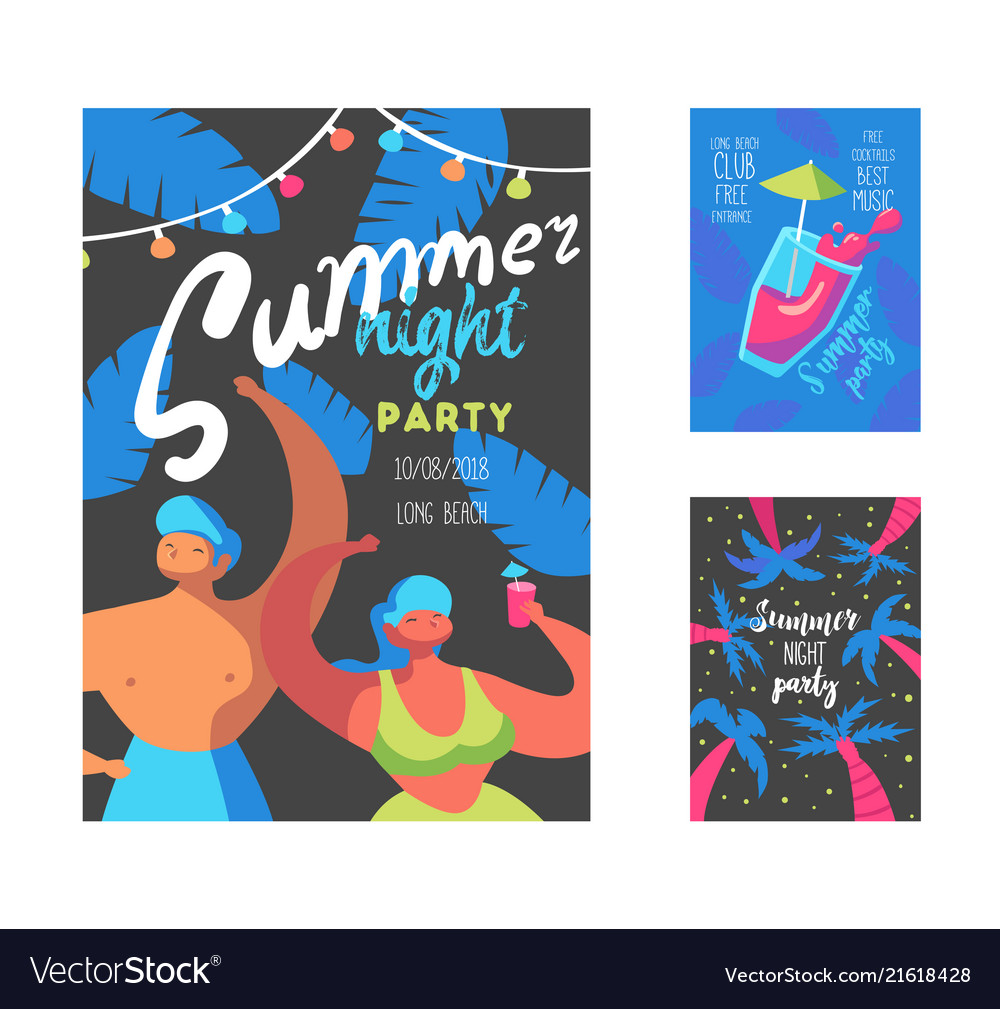Summer night party poster with flat people