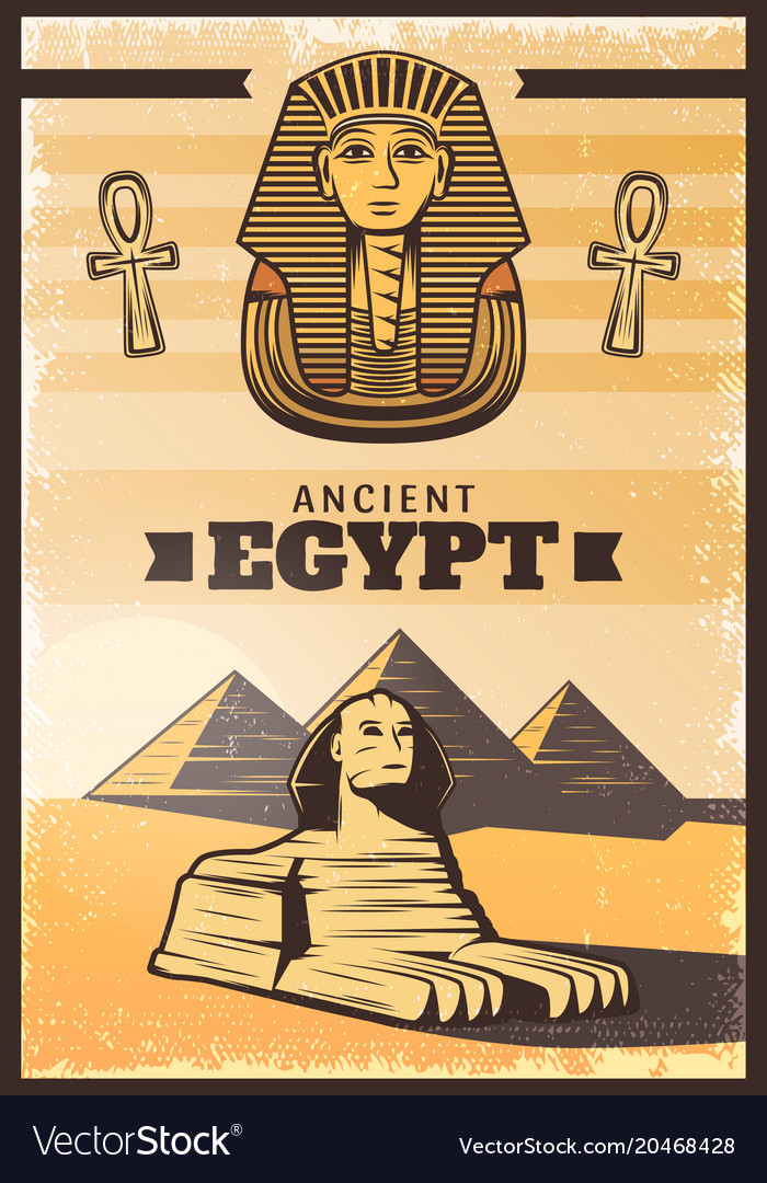 Vintage colored travel egypt poster vector image