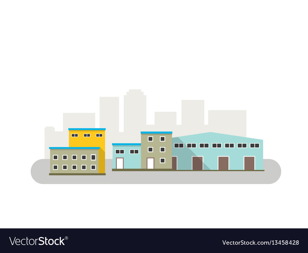 Warehouse icon in flat style isolated
