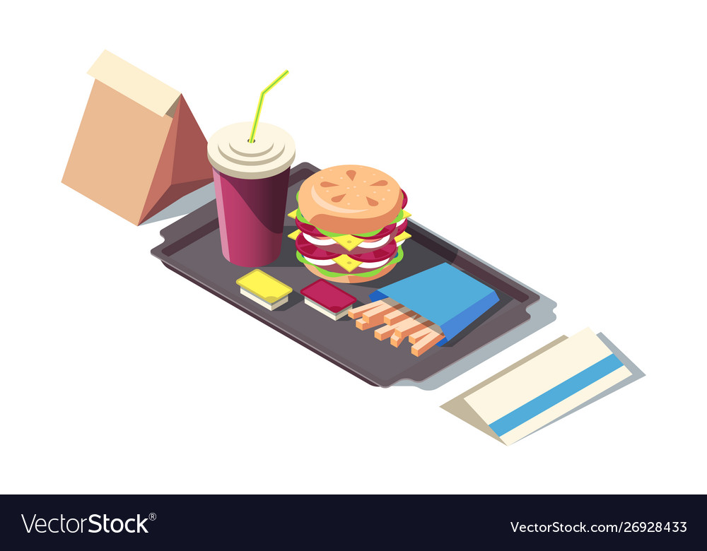 3d isometric fast food soda burger french