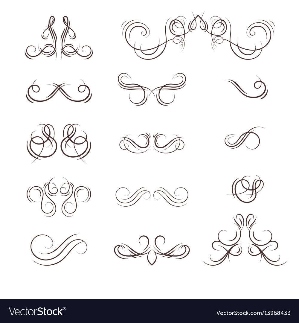 A collection of decorative monograms and a vector image