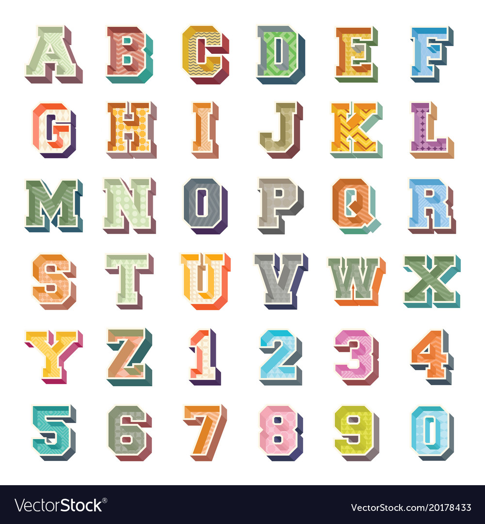 Alphabets and numbers 3d icons set
