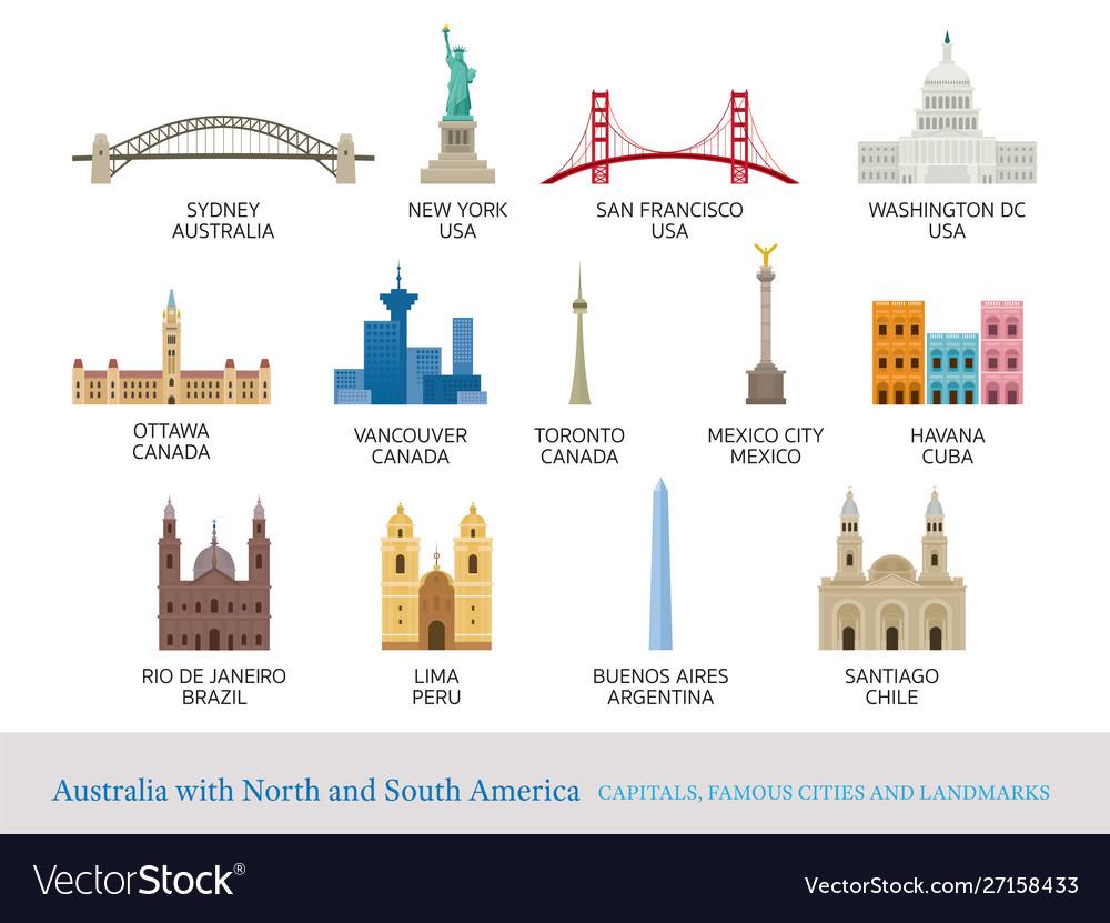 America continent and australia cities landmarks