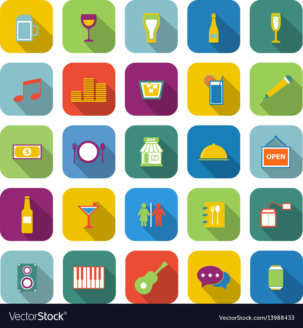 Bar color icons with long shadow vector image