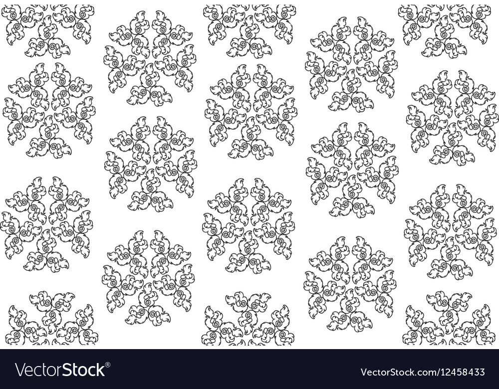 Black And White Of Thai Vintage Wallpaper Pattern Vector Image