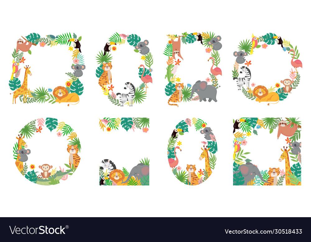 Cartoon animals frame jungle animal in tropical